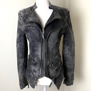 Zipper & Metal accents Distressed MOTO JACKET Coat